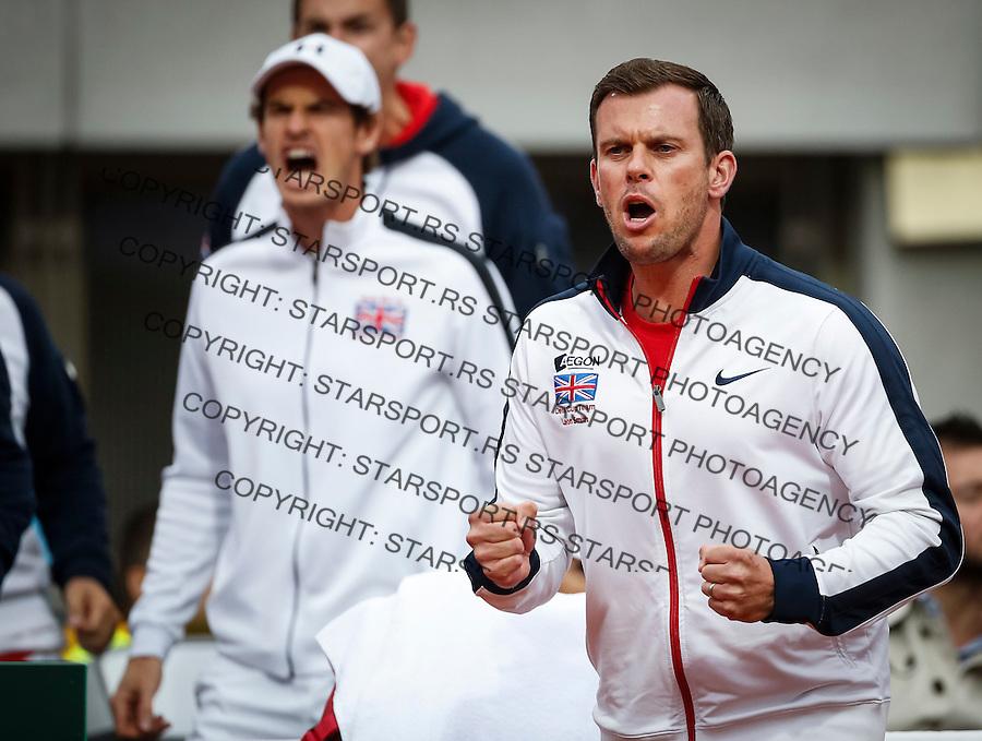 Davis Cup 2016 Quarter Final<br /> Srbija v Velika Britanija-Dubl-Doubles<br /> Dusan Lajovic SRB v Kyle Edmund GBR<br /> Team captain Leon Smith (R) and Andy Murray<br /> Beograd, 17.07.2016.<br /> Foto: Srdjan Stevanovic/Starsportphoto.com&copy;