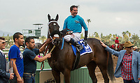 ARCADIA, CA  FEBRUARY 4: #3 St. Joe Bay, ridden by Kent Desormeaux, in the winners' circle after winning the Palos Verdes Stakes (Grade ll) at Santa Anita Park, on February 4, 2017 in Arcadia, Ca.  (Photo by Casey Phillips/Eclipse Sportswire/Getty Images)