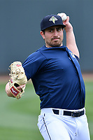 Starting pitcher Blake Taylor (28) of the Columbia Fireflies warms up before a game against the Lexington Legends on Sunday, April 23, 2017, at Spirit Communications Park in Columbia, South Carolina. Lexington won, 4-2. (Tom Priddy/Four Seam Images)