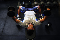 Levi Douglas of Bath Rugby in the gym. Bath Rugby pre-season training on June 21, 2016 at Farleigh House in Bath, England. Photo by: Patrick Khachfe / Onside Images