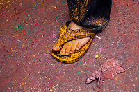 A foot is covered with colored powder during the Holi Hai festival organized by Indian community in New York City March 31, 2013. Photo by Eduardo Munoz Alvarez / VIEWpress.