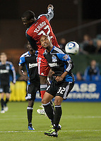 Tony Tchani (22) goes up for the ball above Matt Luzunaris (32). The San Jose Earthquakes tied Toronto FC 1-1 at Buck Shaw Stadium in Santa Clara, California on April 9th, 2011.