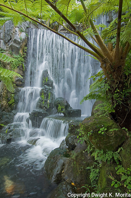 Waterfall feature in the gardens of Longshan Temple, Taipei