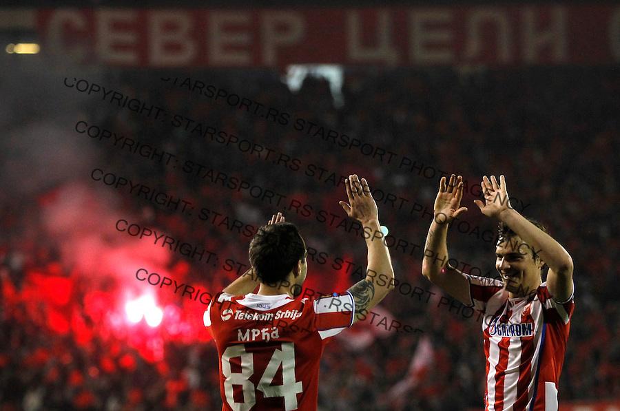 Fudbal Jelen super league season 2013-2014<br /> Crvena Zvezda v Cukaricki<br /> Dragan Mrdja and Nejc Pecnik celebrate<br /> Beograd, 04.12.2014.<br /> foto: Srdjan Stevanovic/Starsportphoto&copy;