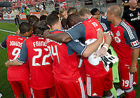 The Toronto FC have a team huddle before the start of an MLS game between the FC Dallas and the Toronto FC at BMO Field in Toronto on July 20, 2011..FC Dallas won 1-0.