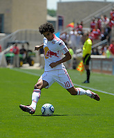 New York midfielder Mehdi Ballouchy sends in a cross.  The Chicago Fire tied the New York Red Bulls 1-1 at Toyota Park in Bridgeview, IL on June 26, 2011.