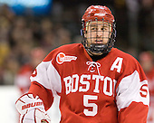 David Warsofsky (BU - 5) - The Boston College Eagles defeated the Boston University Terriers 3-2 (OT) in their Beanpot opener on Monday, February 7, 2011, at TD Garden in Boston, Massachusetts.