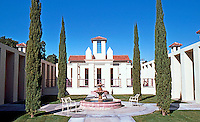 Michael Graves: San Juan Capistrano Library. Interior Court.  Photo '86.