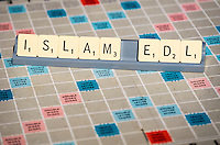 Islam, EDL (english defence league ) spelled out in Scrabble Letters.