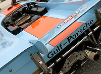 Gulf Porsche on display at the Rennsport Reunion, Daytona INternational Speedway, Daytona Beach, FL, November 2007.  (Photo by Brian Cleary/www.bcpix.com)