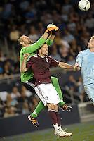 Rapids goalkeeper Matt Pickens punches the ball away..Sporting Kansas City defeated Colorado Rapids 2-0 in Open Cup play at LIVESTRONG Sporting Park, Kansas City, Kansas.