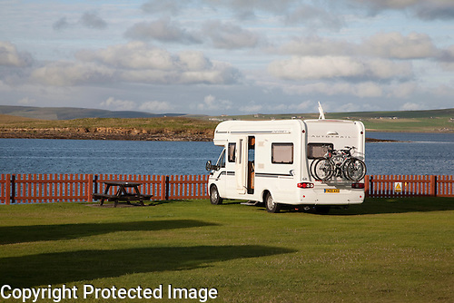 Camping and caravaning in Stromness, Orkney Islands, Scotland