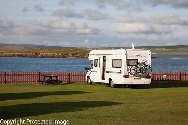 Camping Van at Stromness in Orkney Islands, Scotland