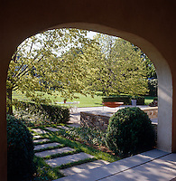A view over the large garden from the covered porch