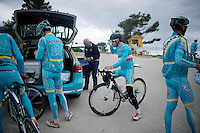 Italian Champion & 2014 Tour de France winner Vincenzo Nibali (ITA/Astana) & teammates during a trainingbreak on the Coll de Rates (Alicante, Spain) at the 2015 Astana winter training camp