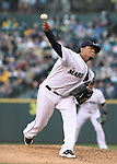 Seattle Mariners' pitcher Felix Hernandez pitches against the Oakland Athletics in the first inning  September 13, 2014 at Safeco Field in Seattle.   UPI/Jim Byant