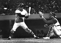 Red Sox slugger Carl Yastrzemski against the A's,catcher Phil Roof. (1969 photo/Ron Riesterer)