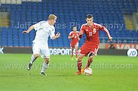 Both No.11's Riku Riski of Finland and Gareth Bale of Wales battle during the Wales v Finland Vauxhall International friendly football match at the Cardiff City stadium, Cardiff, Wales. Photographer - Jeff Thomas Photography. Mob 07837 386244. All use of pictures are chargeable.