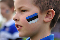 A general view of blue, black and white face paint on a supporter. European Rugby Challenge Cup Quarter Final, between Bath Rugby and CA Brive on April 1, 2017 at the Recreation Ground in Bath, England. Photo by: Patrick Khachfe / Onside Images
