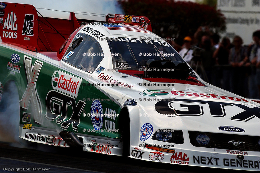 GAINESVILLE, FL - MARCH 19: John Force drives his Funny Car during the AC Delco NHRA Gatornationals on March 19, 2006, at Gainesville Raceway near Gainesville, Florida.