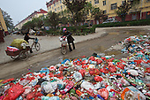 A woman drives her grandchild past a garbage heap at a housing project in  northeastern China. <br /> <br /> They were all moved from their farmland and resettled nearby in this purpose-built estate. <br /> <br /> Schooling and public service is a big challenge for China as it pushes ahead with a dramatic, history-making plan to move 100 million rural residents into towns and cities over the next six years &mdash; but without a clear idea of how to pay for the gargantuan undertaking or whether the farmers involved want to move.<br />