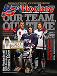 2010 US Men's Olympic Hockey Team members, Dustin Brown, Ryan Miller, and Zach Parise pose for USA Hockey Magazine's 2010 Olympic Preview issue.