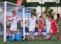 Andrew Oliver (16) of the United States celebrates his goal during the group stage of the CONCACAF Men's Under 17 Championship at Jarrett Park in Montego Bay, Jamaica. The USA defeated Panama, 1-0.