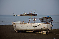 Boats sunken in  Berbera harbor, Somaliland.<br /> The  harbor is littered with abandoned and sunken boats. <br /> Somaliland is an autonomous region which is part of Somalia