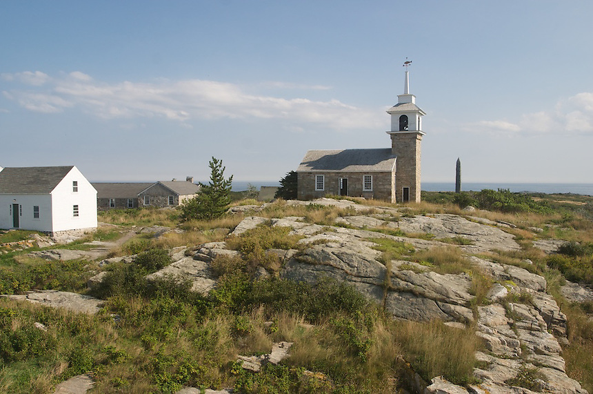 1800 stone Gosport Church is the center of religious activities at the Star Island Conference Center, Isles of Shoals, Rye, New Hampshire. Photograph by Peter E. Randall.