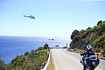 TV helicopter shoots the stunning coastline at Villasimius during Stage 3 of the 100th edition of the Giro d'Italia 2017, running 148km from Tortoli to Cagliari, Sardinia, Italy. 7th May 2017.<br /> Picture: Eoin Clarke | Cyclefile<br /> <br /> <br /> All photos usage must carry mandatory copyright credit (&copy; Cyclefile | Eoin Clarke)