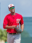 10 March 2015: Washington Nationals outfielder Michael Taylor returns from the outfield during Spring Training action against the Miami Marlins at Roger Dean Stadium in Jupiter, Florida. The Marlins edged out the Nationals 2-1 on a walk-off solo home run in the 9th inning of Grapefruit League play. Mandatory Credit: Ed Wolfstein Photo *** RAW (NEF) Image File Available ***
