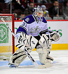 31 January 2009: Los Angeles Kings' goaltender Erik Ersberg warms up prior to facing the Montreal Canadiens at the Bell Centre in Montreal, Quebec, Canada. The Canadiens defeated the Kings 4-3. ***** Editorial Sales Only ***** Mandatory Photo Credit: Ed Wolfstein Photo