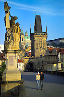 Prague, Czech Republic, July 2005. Charles Bridge (Karluv Most) is a stone Gothic bridge that connects the Old Town and Malá Strana. It was actually called the Stone Bridge (Kamenný most) during the first several centuries.The city of Prague is more colourful than ever before. It offers both classical and modern designs, bars and hotels. Photo by Frits Meyst/Adventure4ever.com
