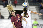 10 November 2013: Florida State's Kristin Grubka (13) and Virginia Tech's Ashley Meier (15). The Florida State University Seminoles played the Virginia Tech Hokies at WakeMed Stadium in Cary, North Carolina in a 2013 NCAA Division I Women's Soccer match and the championship game of the Atlantic Coast Conference tournament. Florida State won the game 1-0.