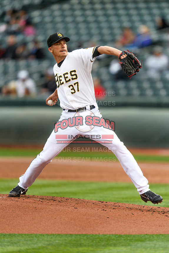Salt Lake Bees starting pitcher Alex Meyer (37) delivers a pitch to the plate against the Sacramento River Cats in Pacific Coast League action at Smith's Ballpark on April 11, 2017 in Salt Lake City, Utah. The River Cats defeated the Bees 8-7. (Stephen Smith/Four Seam Images)