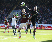 Manchester United's goalkeeper David De Gea punches clear from Burnley's Ashley Barnes<br /> <br /> Photographer Stephen White/CameraSport<br /> <br /> The Premier League - Burnley v Manchester United - Sunday 23rd April 2017 - Turf Moor - Burnley<br /> <br /> World Copyright &copy; 2017 CameraSport. All rights reserved. 43 Linden Ave. Countesthorpe. Leicester. England. LE8 5PG - Tel: +44 (0) 116 277 4147 - admin@camerasport.com - www.camerasport.com