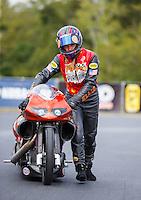 Sep 18, 2016; Concord, NC, USA; NHRA pro stock motorcycle rider Chip Ellis during the Carolina Nationals at zMax Dragway. Mandatory Credit: Mark J. Rebilas-USA TODAY Sports
