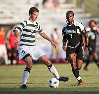 Number 8 ranked Charlotte beats number 16 ranked Coastal Carolina 1-0 on a goal by Thomas Allen in the 101st minute during the second overtime.  Ashton Bennett (7), Thomas Allen (5)
