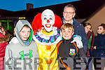 Enjoying the KNOCKNAGOSHEL Halloween festival on Sunday were Fionn  Duggan, Ali the Clown, Rory Cantillon and Mike Cantillon