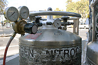 LIQUID NITROGEN TANKS<br /> Liquid Nitrogen Tank Showing Valves<br /> Electrical feeders run through pipes filled with insulating oil which becomes very hot. When work needs to be done on these feeders, liquid nitrogen is used to feeze the oil in the pipes on either side of the of the work area.