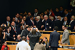 """Palestinian President Mahmoud Abbas gets congratulated at the UN General Assembly meeting at the UN headquarters,  in New York, November 29, 2012. Abbas appealed to the U.N. General Assembly to recognize Palestinian statehood by supporting a resolution to upgrade the U.N. observer status of the Palestinian Authority from """"entity"""" to """"non-member state."""". Photo by Thaer Ganaim"""