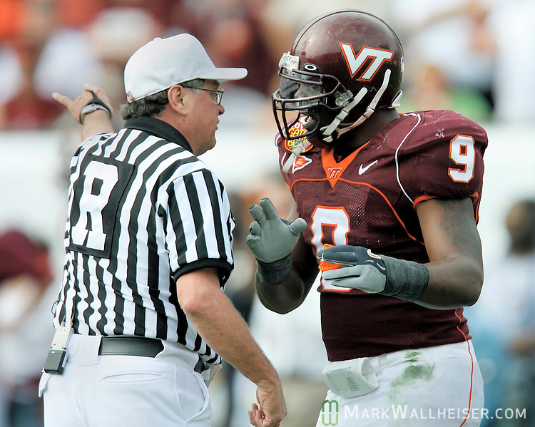 Virginia Tech Linebacker Vince Hall Argues A Call In The