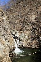 "Switzerland. Canton Ticino. Aranno. The ""Sentiero delle Meraviglie"" is a walking path. The ""Sentiero delle Meraviglie"" is a guided trail which is plunged into nature, but every so often signs of human activity appear. Aranno is located in the Malcantone area. 16.03.2010 © 2010 Didier Ruef"