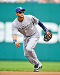 29 May 2011: San Diego Padres infielder Jason Bartlett in action against the Washington Nationals at Nationals Park in Washington, District of Columbia. The Padres defeated the Nationals 5-4 to take the rubber match of their 3-game series. Mandatory Credit: Ed Wolfstein Photo