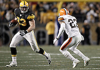 PITTSBURGH, PA - DECEMBER 08:  Heath Miller #83 of the Pittsburgh Steelers runs after catching a pass in front of Joe Haden #23 of the Cleveland Browns during the game on December 8, 2011 at Heinz Field in Pittsburgh, Pennsylvania.  (Photo by Jared Wickerham/Getty Images)