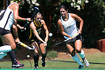30 August 2014: Wake Forest's Anna Kozniuk (CAN) (22) and Iowa's Melissa Progar (left). The Wake Forest University Demon Deacons played the University of Iowa Hawkeyes at Francis E. Henry Stadium in Chapel Hill, North Carolina as part of the ACC/Big 10 Challenge and an 2014 NCAA Division I Field Hockey match. Iowa won the game 4-1.