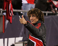 SL Benfica defender David Luis (23) interacting with fans before the game.  Portugal's Benfica beat the New England Revolution, 4-0 in a friendly match at Gillette Stadium on May 19, 2010