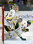 30 November 2009: University of Vermont Catamount goaltender Mike Spillane, a Senior from Bow, NH, in second period action against the Yale University Bulldogs at Gutterson Fieldhouse in Burlington, Vermont. Spillane made 26 saves to lead the Catamounts to a 1-0 shutout in a rematch of last season's first round of the NCAA post-season playoff Tournament. Mandatory Credit: Ed Wolfstein Photo