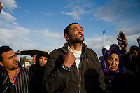 """Ras Ajdir, Feb. 23, 2011.""""A."""", 26 yrs old, is a Tunisian national working in a Libyan company, he is in shock and cries as he tells his fear upon arrival in his homeland. Thousands of refugees, mostly Tunisians but also Egyptians and Libyans flee the ongoing revolution inside Libya."""