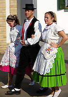 Men and women in traditional Svab dress at the wine harvest festival, Hajos (Hajós) Hungary